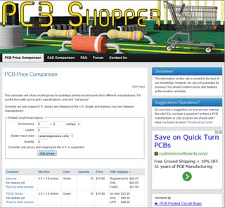 PCBShopper – A Price Comparison Site for Printed Circuit Boards